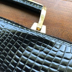 Vintage black textured portfolio bag